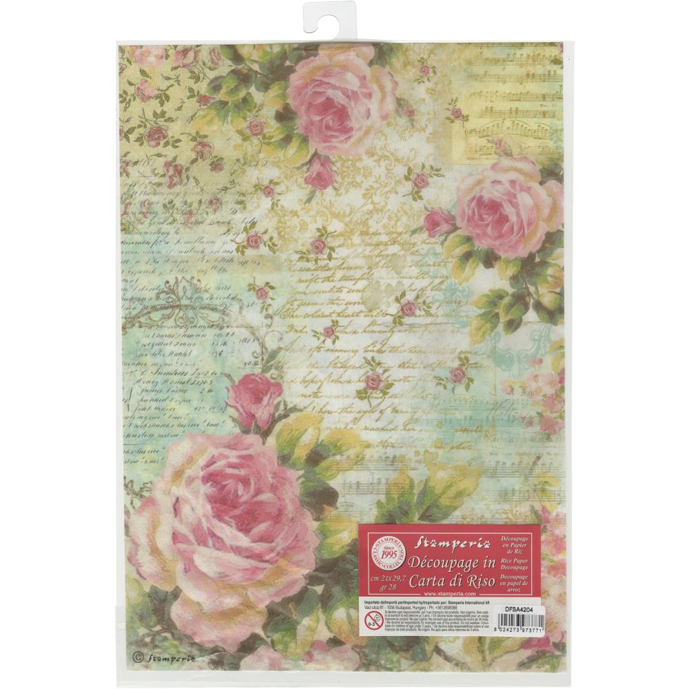 Stamperia Papier de Riz RosesWith Writings